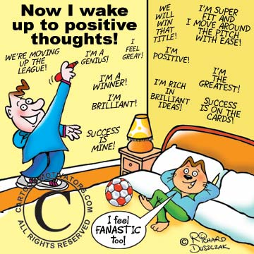 Cartoon - wake-up to positive thoughts