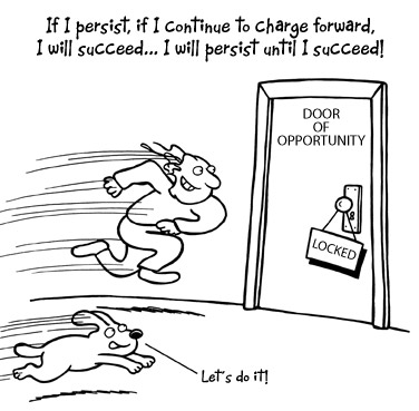 Guy running at the door of opportunity!