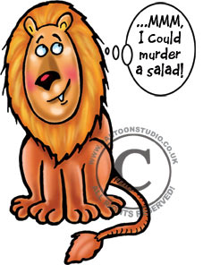 Vegetarian Lion cartoon